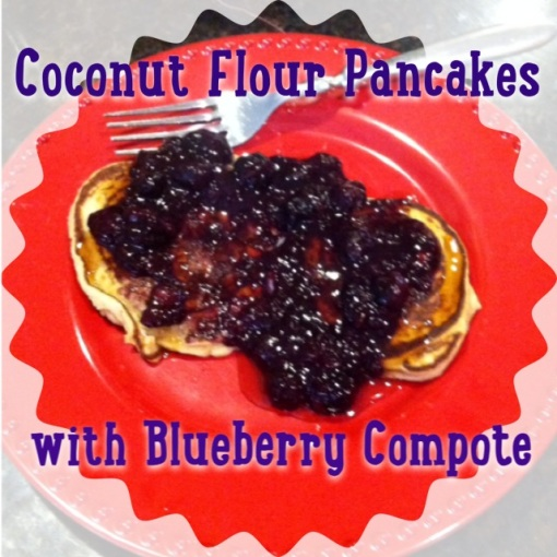 coconut flour pancakes with blueberry compote