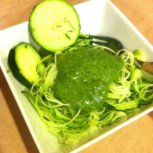 Zucchini Pasta with Pesto--Journey for Jessi